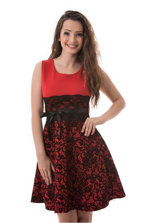 A-vonalú koktélruha, piros-fekete