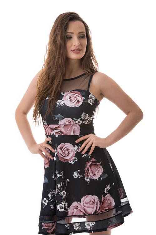 Rózsás koktélruha, sötétkék