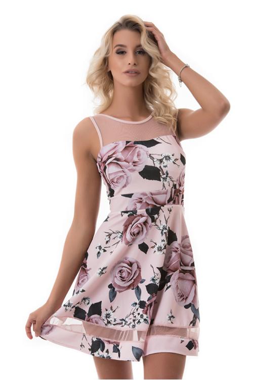 Rózsás koktélruha, rózsaszín