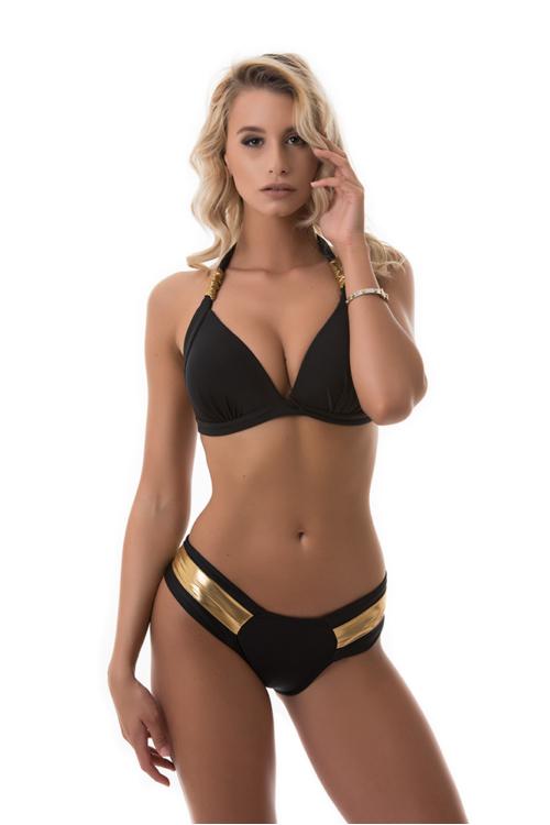 Pyramid push-up háromszög bikini, arany-fekete, C-D kosár