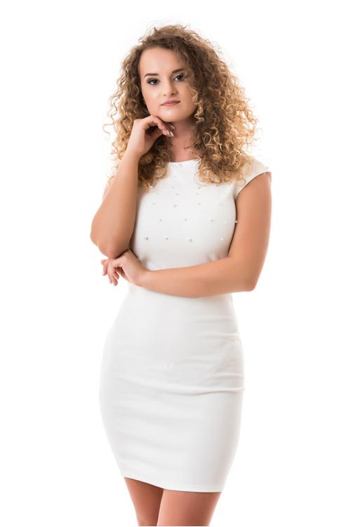 Gyöngyös alkalmi ruha, fehér
