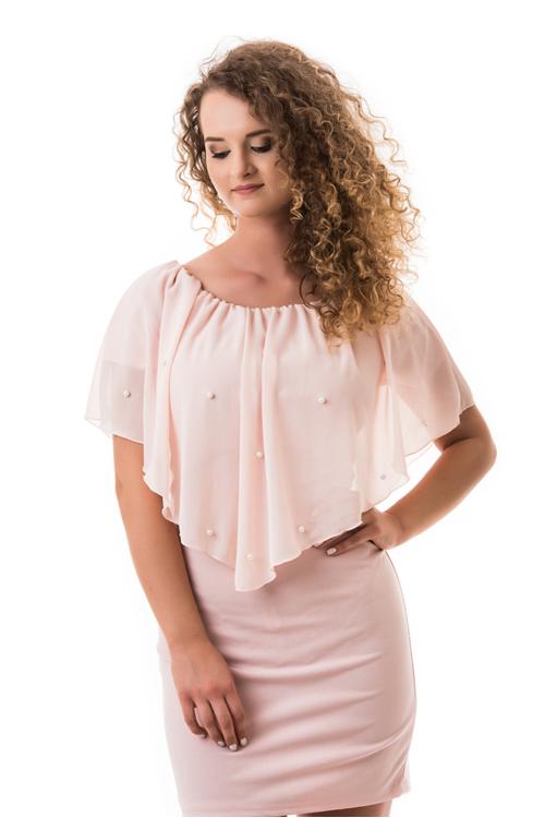 Fodros, gyöngyös ruha, rózsaszín