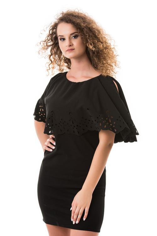 Áttört mintás, nyitott vállú ruha, fekete