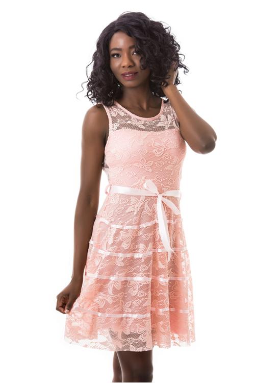 Lepkés A vonalú alkalmi ruha, rózsaszín