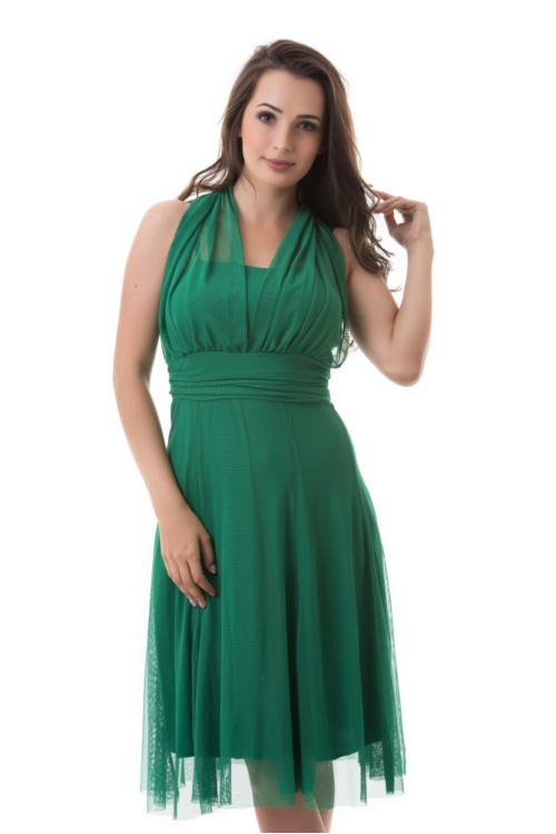 Neccrátétes nyakbakötős alkalmi ruha, zöld