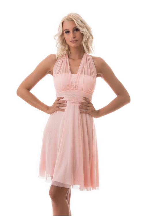 Neccrátétes nyakbakötős alkalmi ruha, rózsaszín