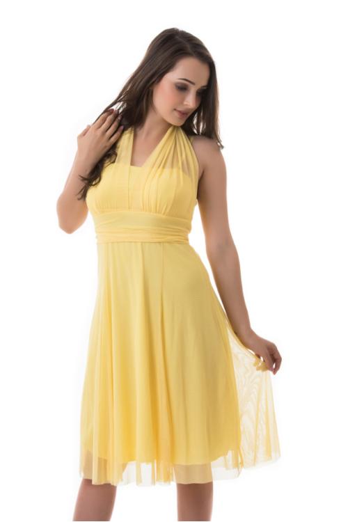 Neccrátétes nyakbakötős alkalmi ruha, sárga