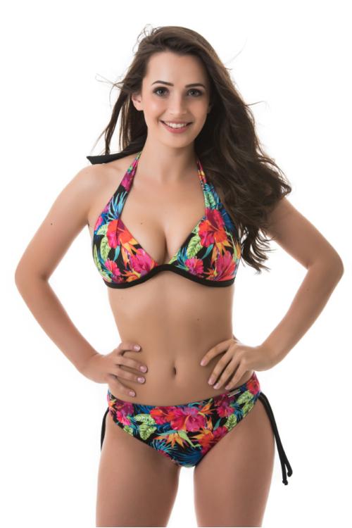 Mania szivacslapos háromszög bikini hibiszkusz mintás, fekete, D kosár