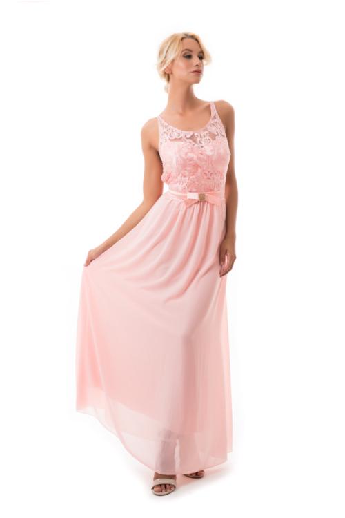 Barokk mintás maxiruha strasszos masnival, rózsaszín