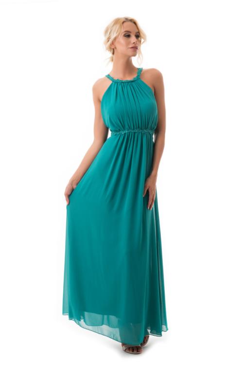 Görögös stílusú, lágy esésű maxiruha, smaragdzöld