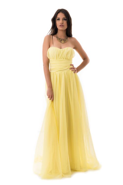 Tüllös maxiruha sárga színben
