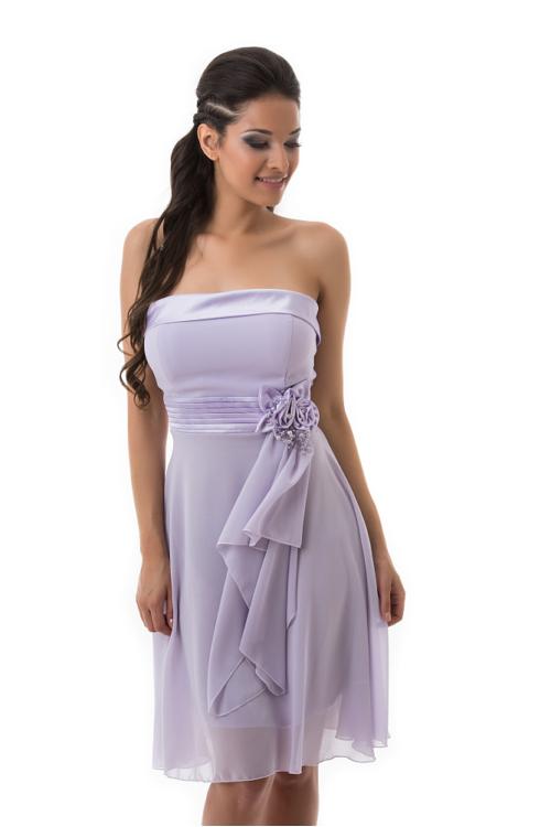 Muszlin koktélruha, selyem rátéttel, derékban rózsával, lila