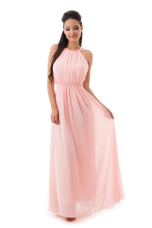 Görögös stílusú, lágy esésű maxiruha, rózsaszín
