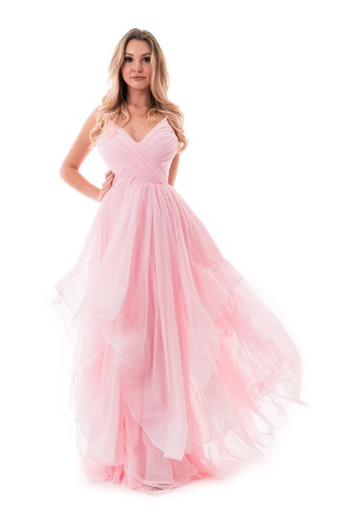 Cakkos romantikus extra tüll maxiruha rózsaszín
