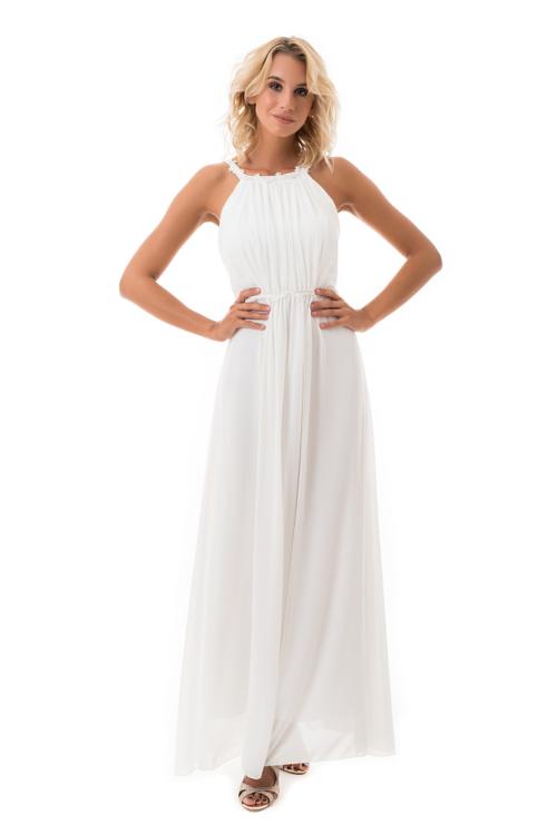 Görögös stílusú, lágy esésű maxiruha, fehér
