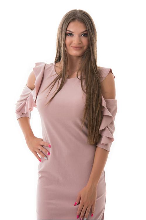 Fodros, nyitott vállú partyruha, rózsaszín