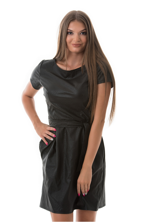 Masnis műbőr ruha, fekete