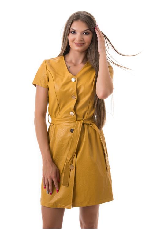 Gombos műbőr ruha, mustár