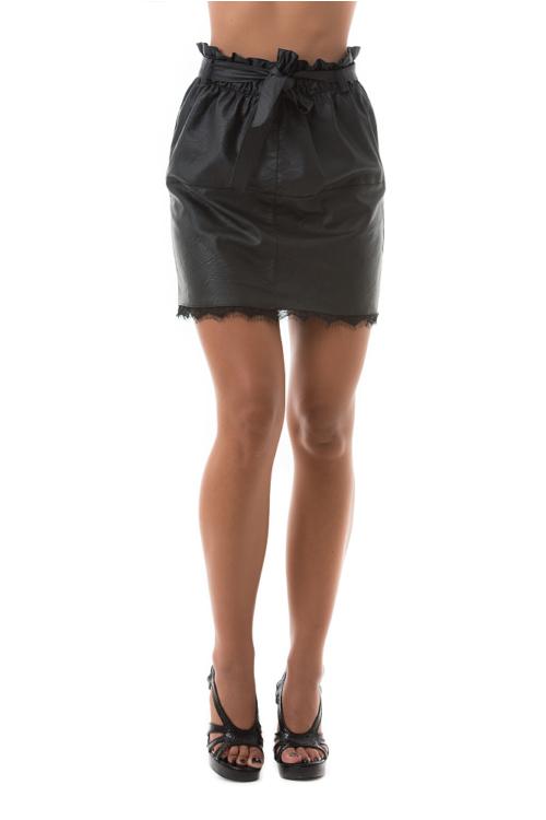 Lace műbőr szoknya, fekete