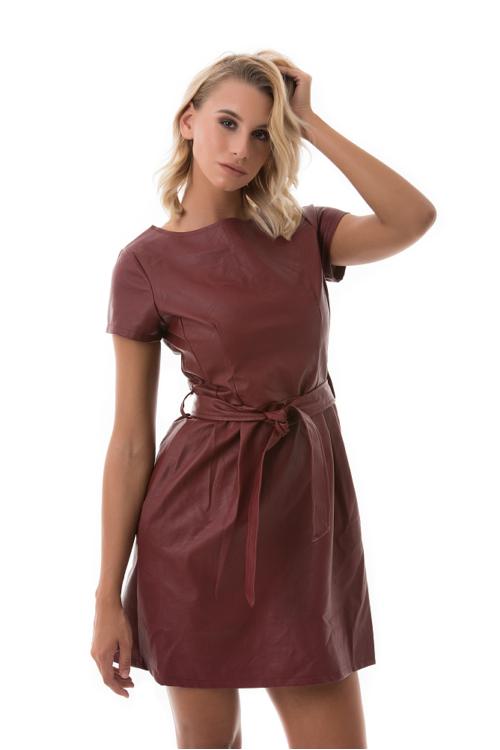 Masnis műbőr ruha, bordó