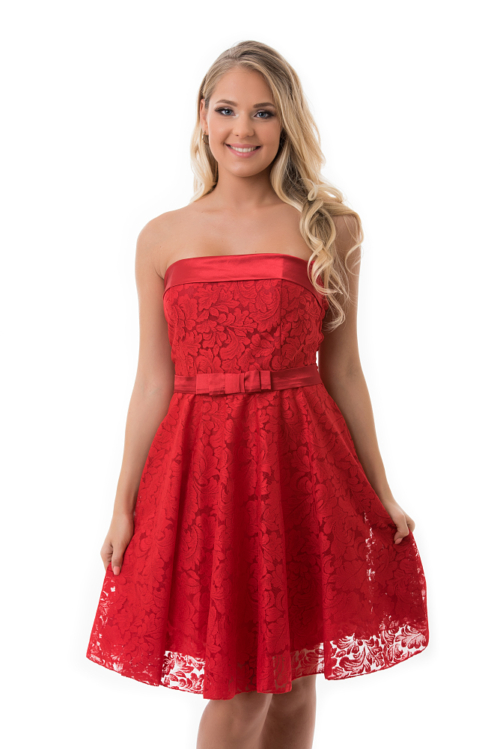 Barokk mintás, selyem rátétes koktélruha, piros