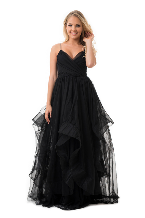 Cakkos romantikus extra tüll maxiruha fekete