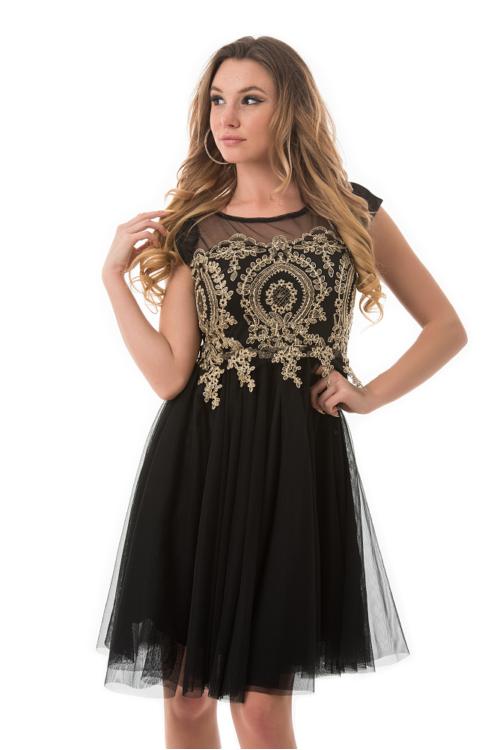 Royal tüllös ruha, fekete-arany