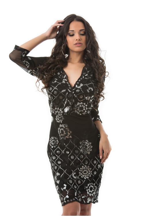 Miramare alkalmi ruha, fekete-ezüst