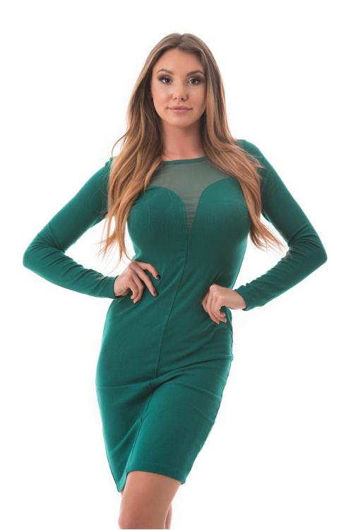 Szív alakú neccbetétes ruha, zöld