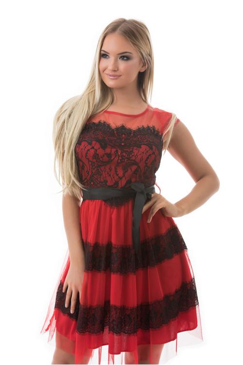 Rose alkalmi ruha, piros-fekete