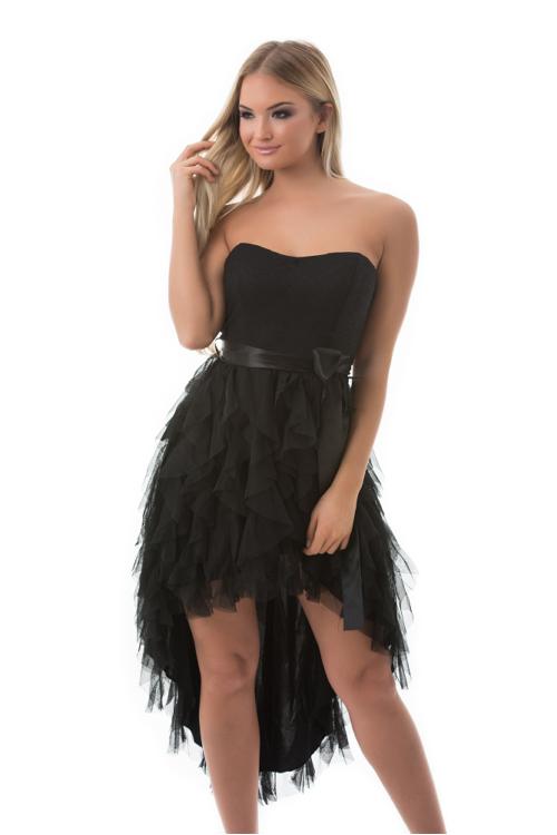 Aszimmetrikus, szatén szalagos ruha, fekete
