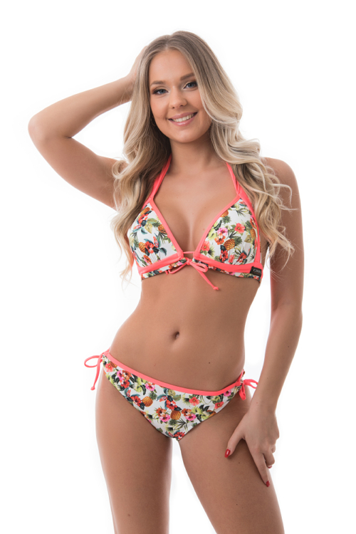 Carib trópusi kiszélesített push-up háromszög bikini, fehér