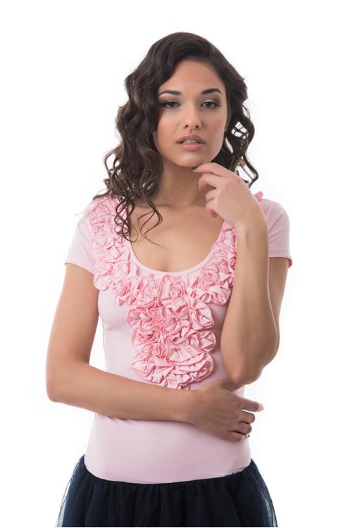 Fodros póló, rózsaszín