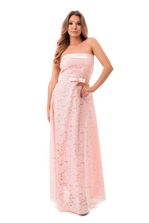 Barokk mintás, selyem rátétes maxiruha, rózsaszín