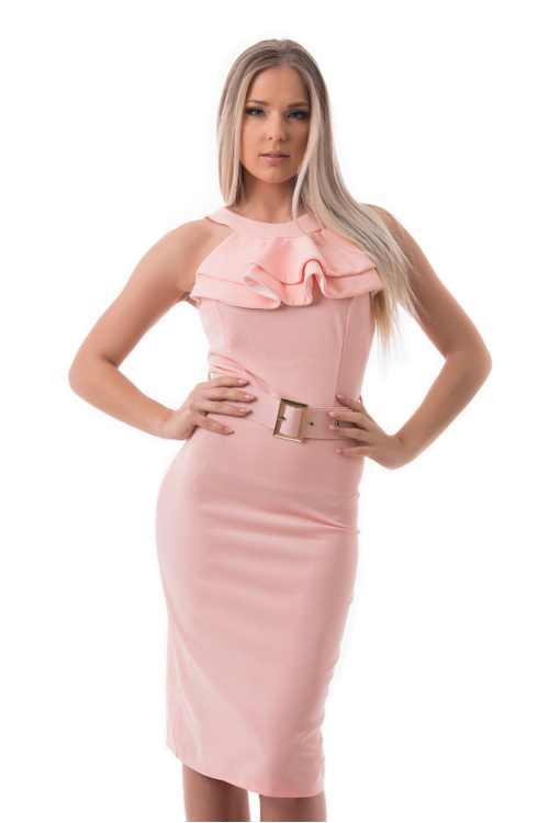 Zsabós alkalmi ruha övvel, rózsaszín