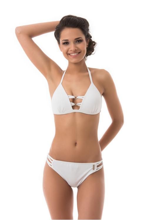 Mania strassz dekoros push-up háromszög bikini, fehér