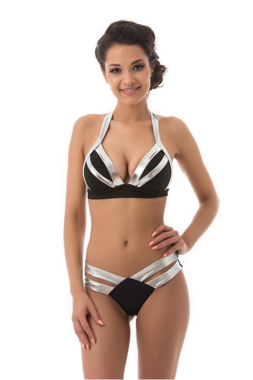 Mania dupla pántos push-up háromszög bikini, ezüst-fekete