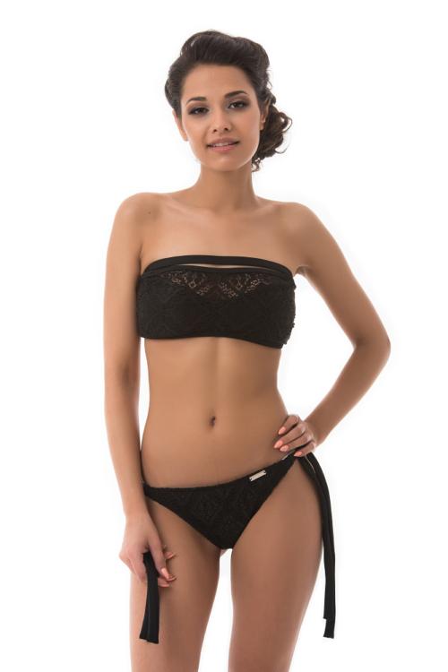 Mania csipkés szivacslapos bikini, fekete