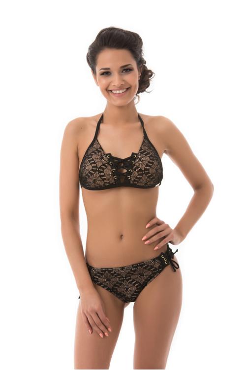 Mania csipkés fűzős push-up háromszög bikini, fekete-nude