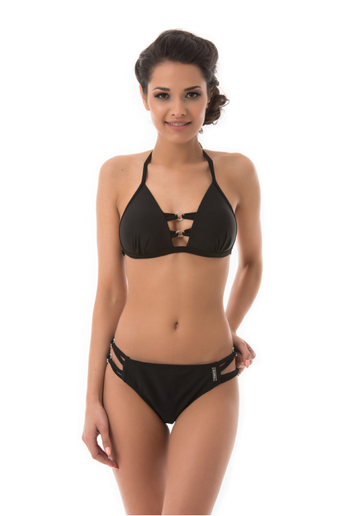 Mania strassz dekoros push-up háromszög bikini, fekete