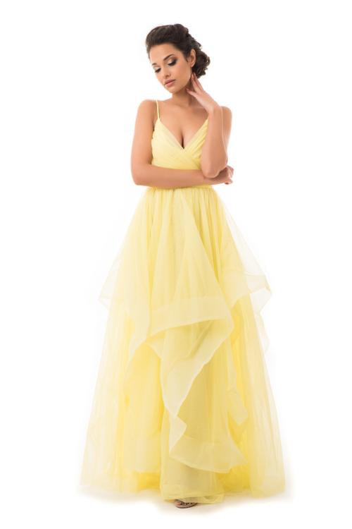Cakkos romantikus extra tüll maxiruha sárga