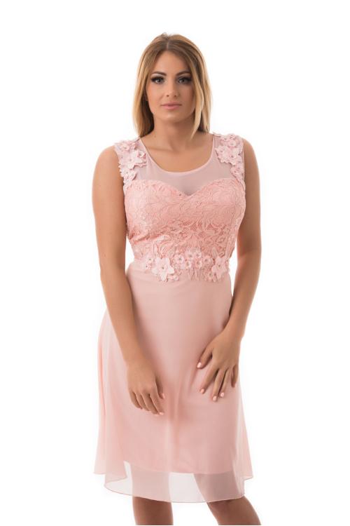 Anne koktélruha, plus size, rózsaszín