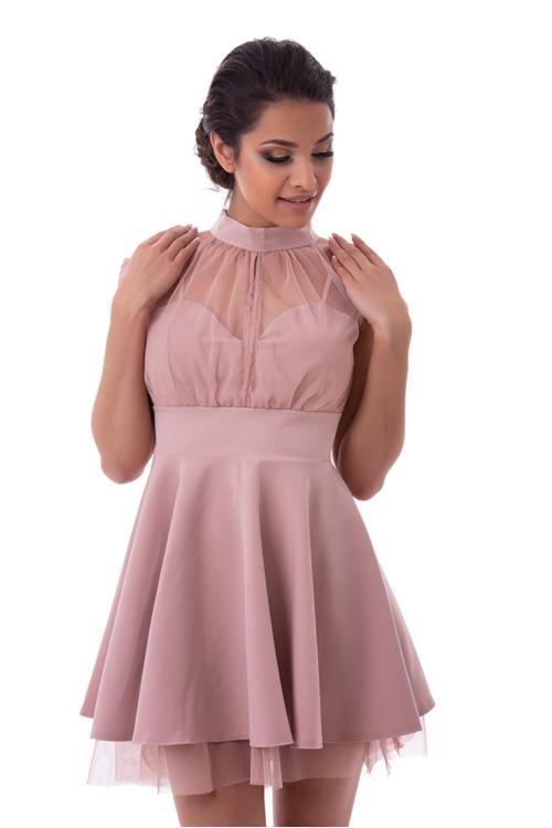 Nyakban záródó alkalmi ruha, fáradt rózsaszín