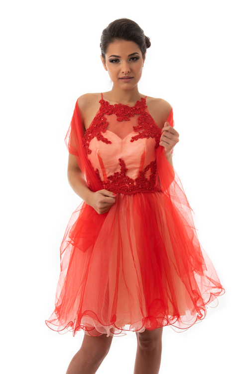Cocktail alkalmi ruha, piros-krém
