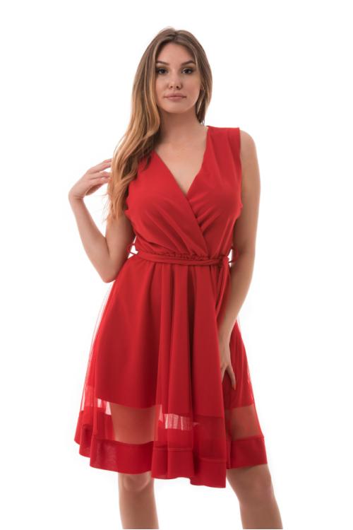 Átlapolt simple alkalmi ruha, piros