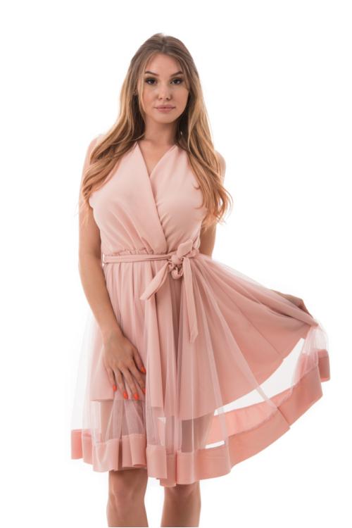 Átlapolt simple alkalmi ruha, rózsaszín