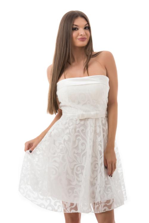 Barokk mintás, selyem rátétes koktélruha, fehér