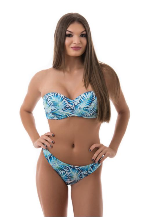 Paloma tekert merevítős cső bikini, dzsungel mintás, kék-fehér 912 D kosár