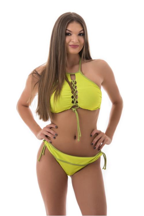 Carib fűzős topos bikini, banánzöld