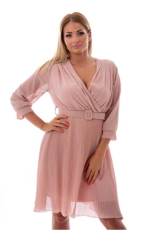 Öves, pliszírozott lenge alkalmi ruha, fáradt rózsaszín